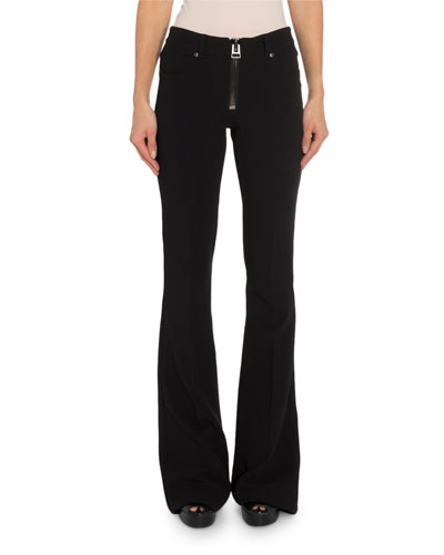 Zip-Front Flare Pants