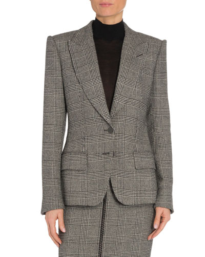 Prince of Wales Plaid Leather-Trim Blazer