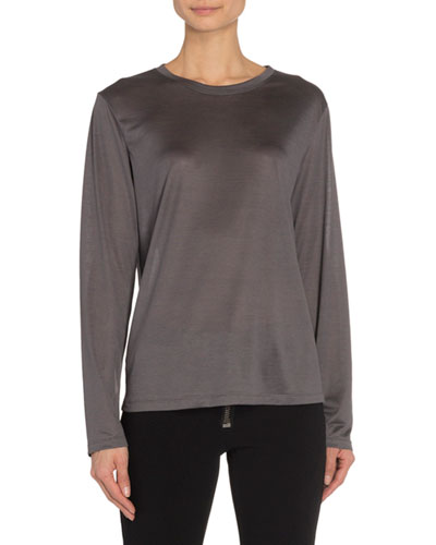 Silk Wool Jersey Long-Sleeve T-Shirt