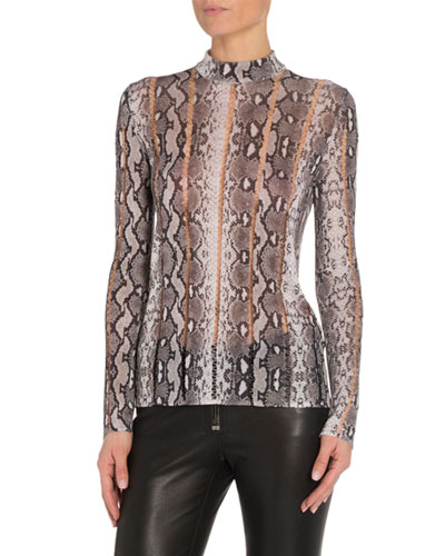 Snake-Print Mock-Neck Top