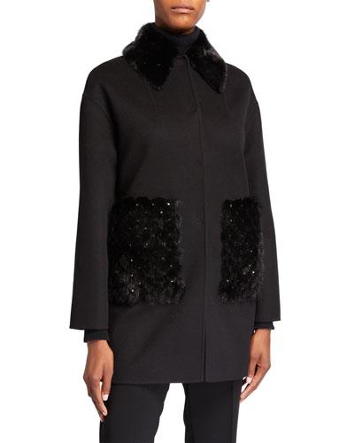 Double Felt Wool-Cashmere Coat with Studded Mink Fur Trim