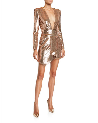 Sequined Asymmetric V-Neck Dress