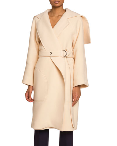 Button-Cape Wool-Blend Coat
