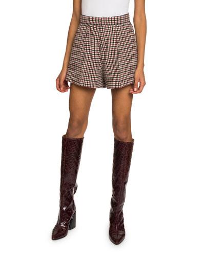 Check Wool-Blend Shorts
