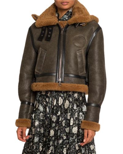 Shearling-Trim Aviator Leather Jacket w/ Hood