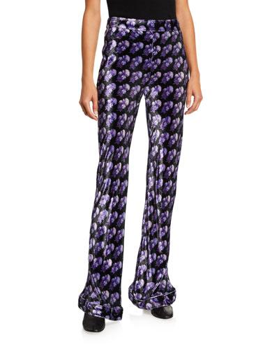 Printed Velvet Flare-Leg Pants
