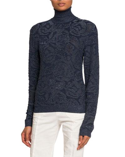 Shimmered Floral Jacquard Turtleneck Sweater