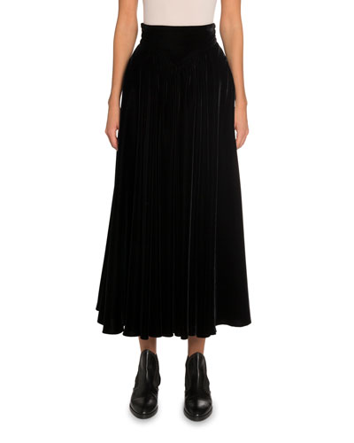 Velvet A-Line Midi Skirt