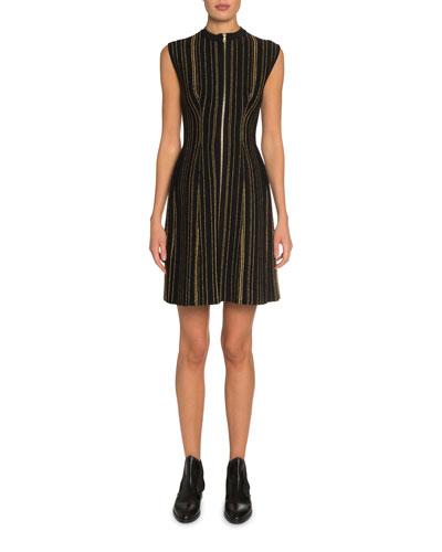 Metallic-Striped Zip-Front Dress