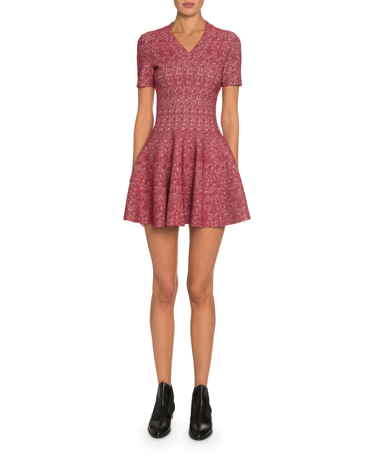 Alaïa Dresses SPIDER FLORAL JACQUARD V-NECK DRESS