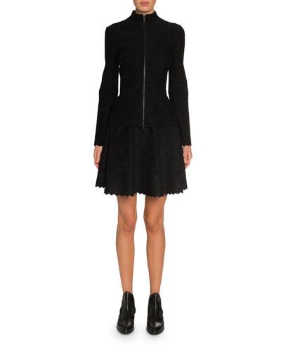 Scallop-Embossed Velvet Jacket