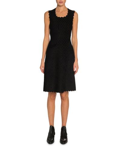 Scallop-Embossed Velvet Dress