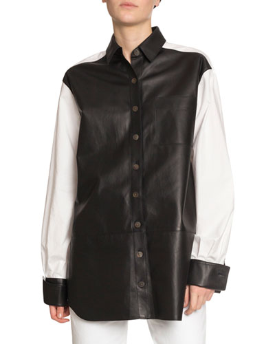 Long-Sleeve Cotton & Leather Shirt