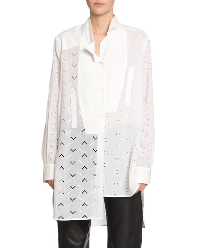 Embroidered Long-Sleeve Asymmetric Shirt