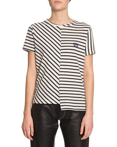 Medusa Asymmetric-Striped Short-Sleeve Tee