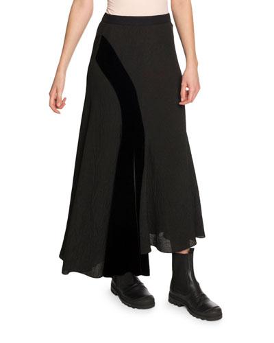 Asymmetric Velvet-Patch Midi Skirt