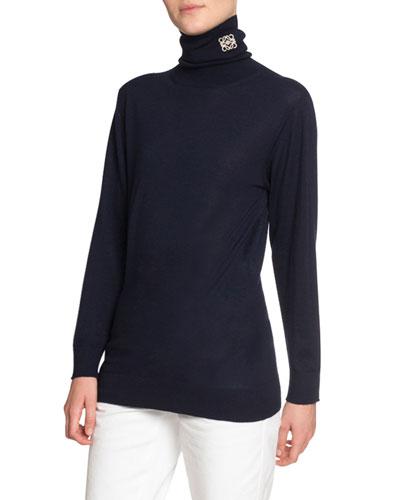 Cashmere Logo-Embroidered Turtleneck Sweater
