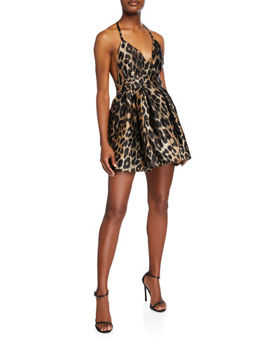 Leopard-Print Sateen Halter Dress