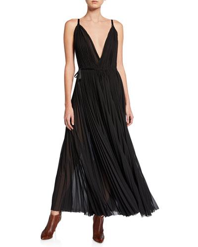 Sleeveless Plisse Wrap Dress