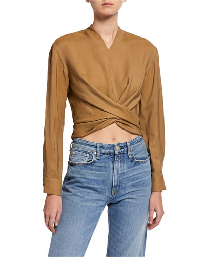Long-Sleeve Wraparound Blouse