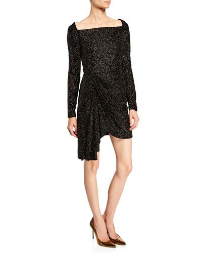 Shimmered Knit Square-Neck Mini Dress