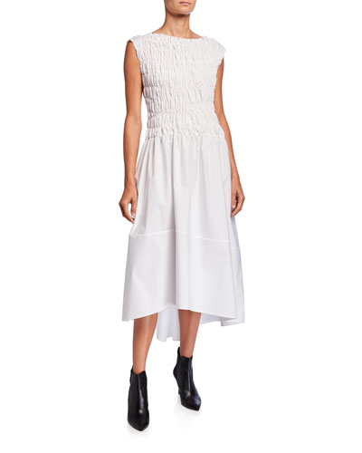 Cotton Smocked-Bodice Midi Dress