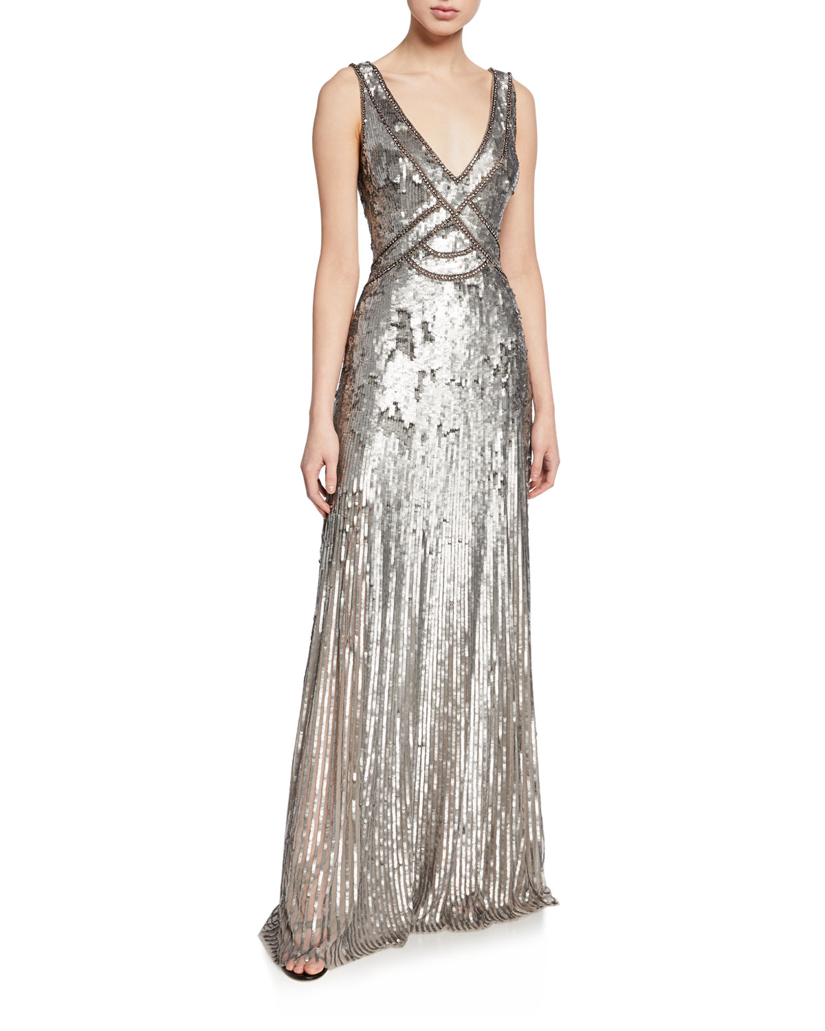 Sleeveless Sequined V-Neck Gown