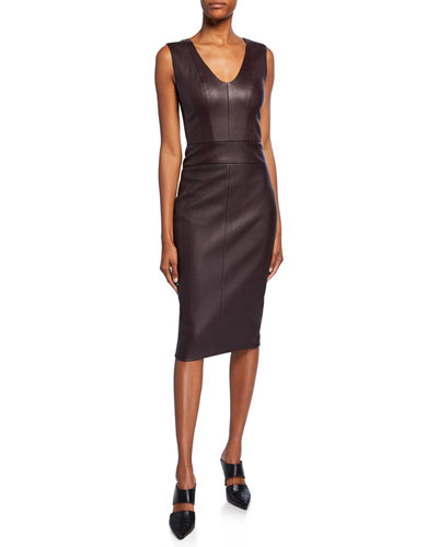 bf13e5d6d17 Leather Scoop-Neck Knee-Length Dress Quick Look. Narciso Rodriguez