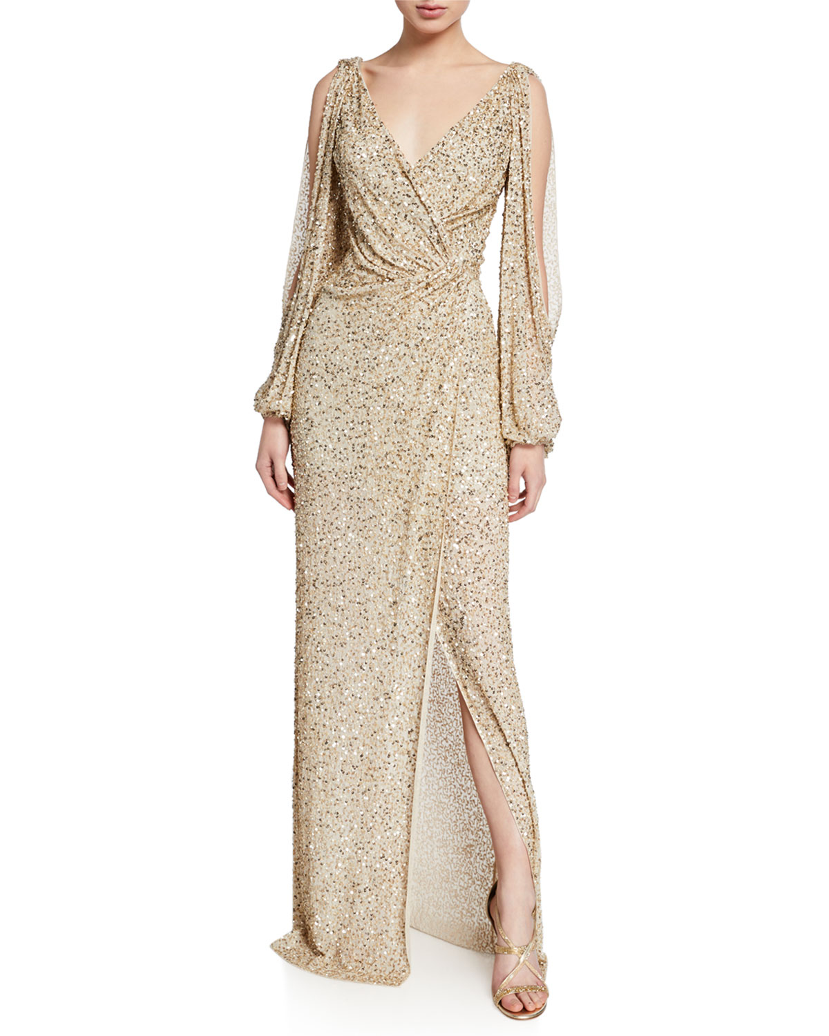 Cold-Shoulder Wrapped Shimmer Gown