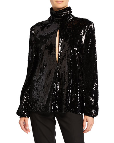 Sequined High-Neck Keyhole Top