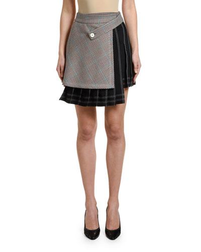 Checked Multi-Panel Mini Skirt