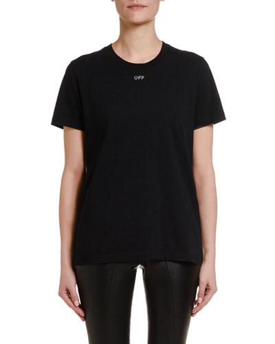 Short-Sleeve Shifted  Casual Tee, Black