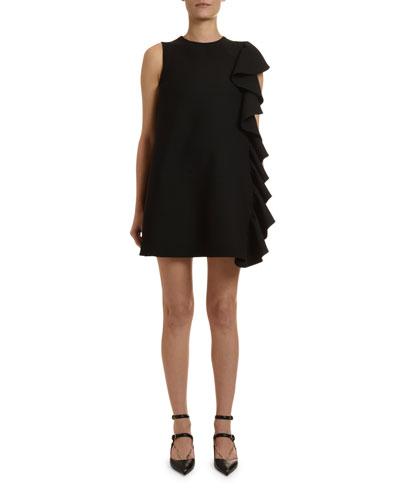 949ff2f97e6 Ruffle-Side Sleeveless Crepe Shift Dress Quick Look. Valentino