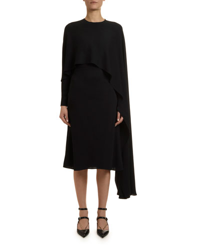 Draped Jersey Cape Dress