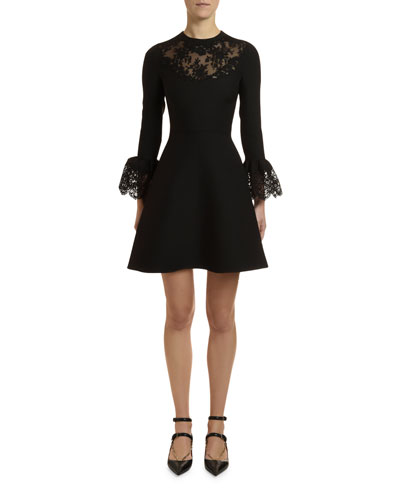 218f8739bc5a3 Lace-Inset Crepe Couture Bell-Sleeve Dress Quick Look. Valentino