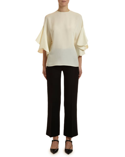 Georgette Draped-Sleeve Blouse