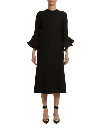 Flared 3/4-Sleeve Crepe Dress