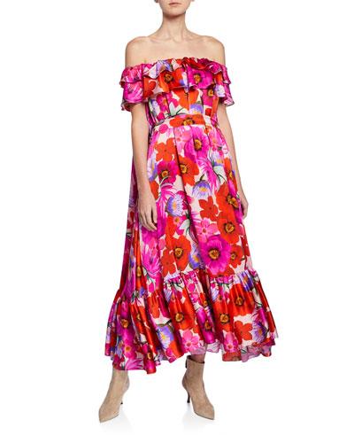 Off-the-Shoulder Floral Satin Dress