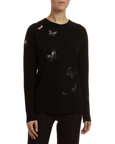 Cashmere Butterfly Embroidered Sweater
