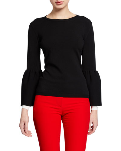 Long-Sleeve Tulip-Cuff Sweater