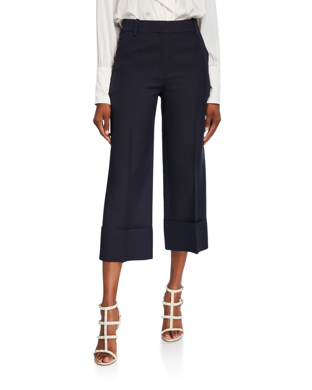 Valentino Pants CREPE COUTURE PLEATED-FRONT CROP PANTS
