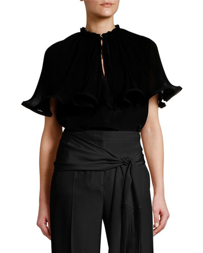 Micro Pleated Keyhole Ruffle Cape-Sleeve Top