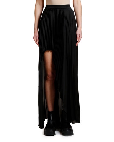 Pleated High-Low Maxi Skirt