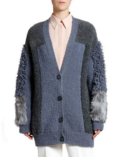 Oversized Faux Fur Patchwork Cardigan