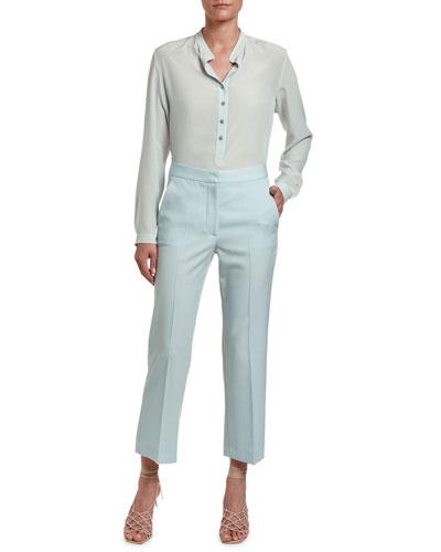 Eva Long-Sleeve Henley Blouse