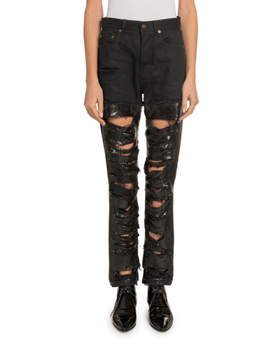 Sequined Mesh Distressed jeans