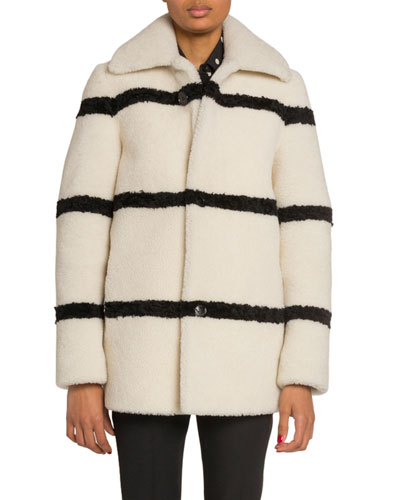 Striped Shearling Pea Coat