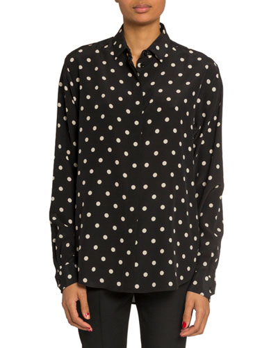 Polka Dot Long-Sleeve Button Front Blouse