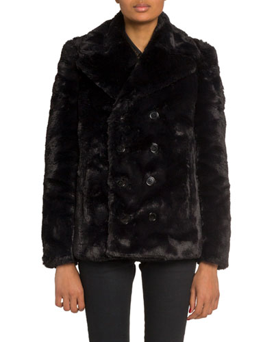 Faux-Fur Double-Breasted Coat
