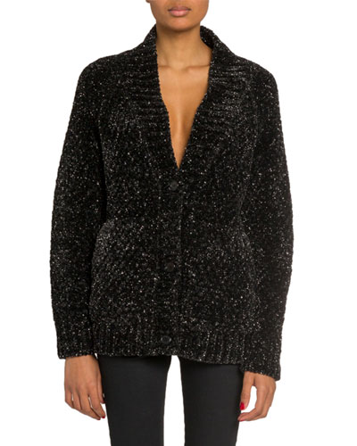 Metallic Flecked Chenille Cardigan